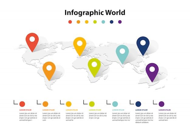 Infografika element mapy świata, infochart informacje biznesowe