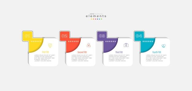 Infografika element z ikonami i 4 opcjami lub krokami.