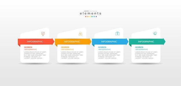 Infografika element z ikonami i 4 opcjami lub krokami