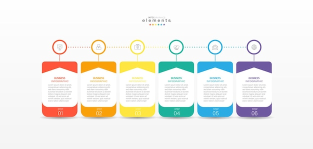 Infografika element z ikonami i 6 opcjami lub krokami