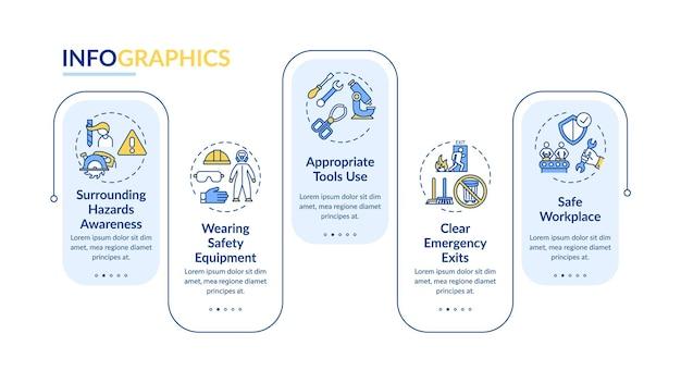 Infografika elementów bezpieczeństwa w miejscu pracy szablon na białym tle