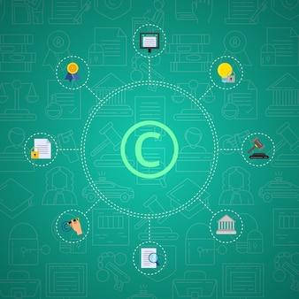 Infografika elementów praw autorskich w stylu płaski na tle gradientowym z liniowymi ikonami praw autorskich.
