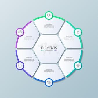 Infografika elementów prezentacji z sześcioma krokami