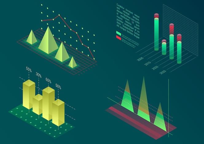 Infografika elementów wykresu izometrycznego. wykresy danych i biznesowych diagramów finansowych. dane statystyczne. szablon do prezentacji, baner sprzedaży, projekt raportu o dochodach, strona internetowa