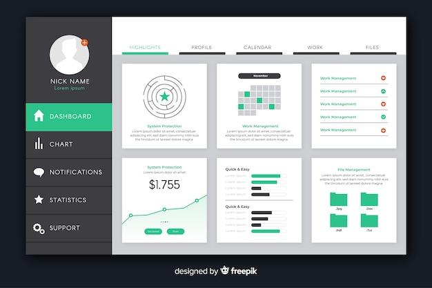 Infografika elementy kolekcji dashboar szablon