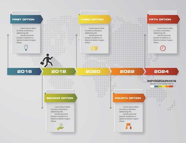 Infografika elementy projektu dla twojej firmy z 5 opcjami. 5-stopniowa prezentacja osi czasu