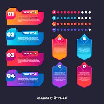 Infografika gradientowa zestaw elementów