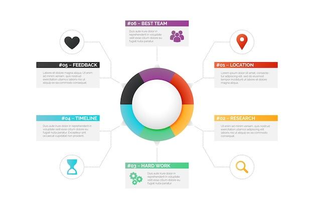 Infografika gradientowego diagramu kołowego