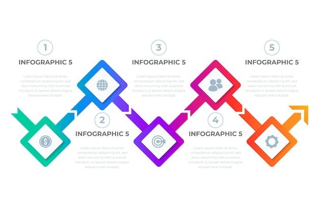 Infografika gradientu kolorowe osi czasu