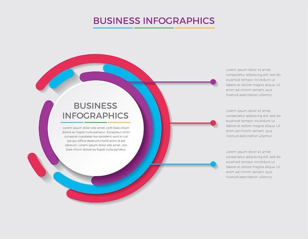 Infografika ikony projektowania i marketingu. koncepcja biznesowa z 3 opcjami, krokami lub procesami.