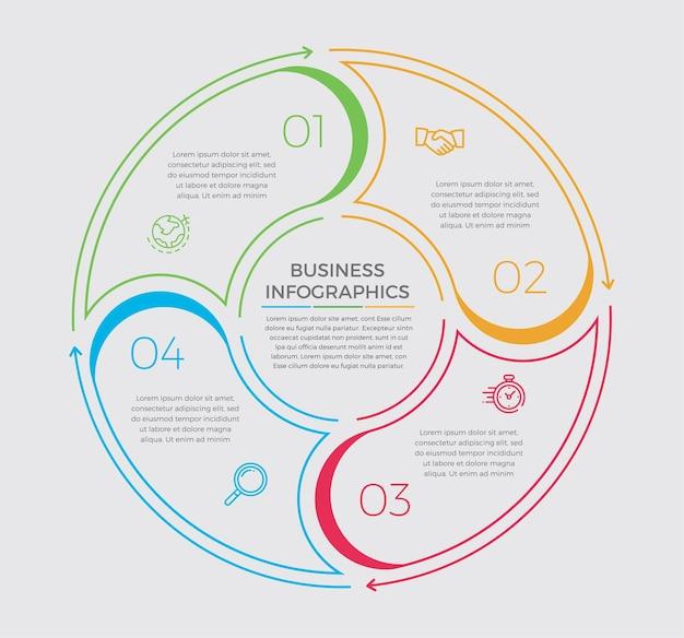 Infografika ikony projektowania i marketingu. koncepcja biznesowa z 4 opcjami, krokami lub procesami.