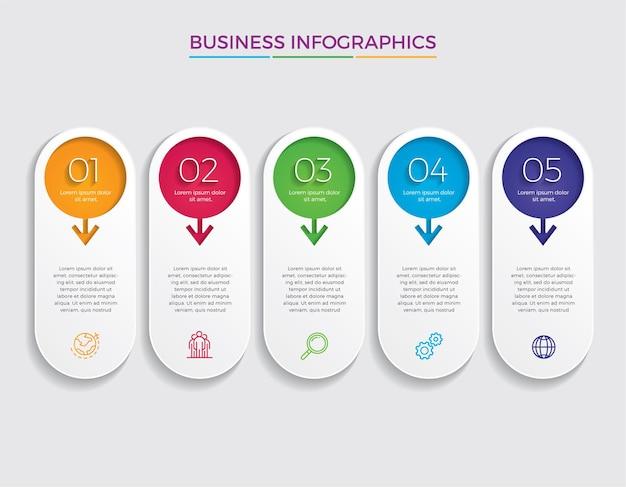 Infografika ikony projektowania i marketingu. koncepcja biznesowa z 5 opcjami, krokami lub procesami.