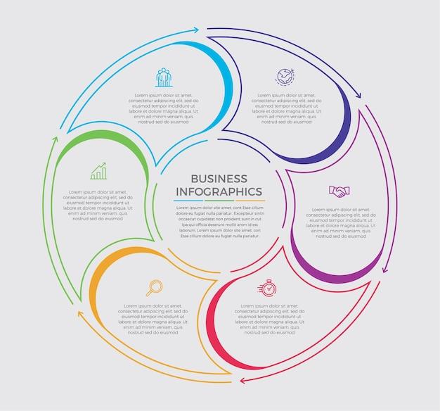 Infografika ikony projektowania i marketingu. koncepcja biznesowa z 6 opcjami, krokami lub procesami.