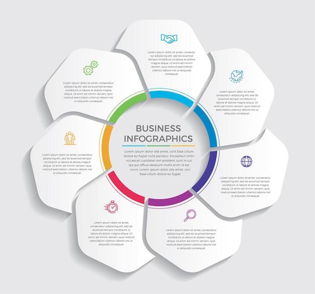 Infografika ikony projektowania i marketingu. koncepcja biznesowa z 7 opcjami, krokami lub procesami.