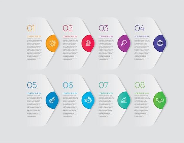 Infografika ikony projektowania i marketingu. koncepcja biznesowa z 8 opcjami, krokami lub procesami.
