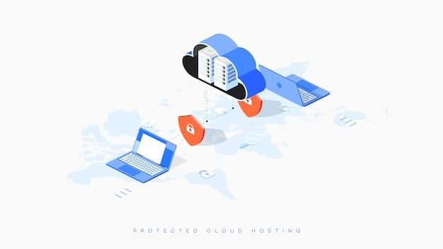 Infografika ilustracja bezpiecznego hostingu w chmurze.