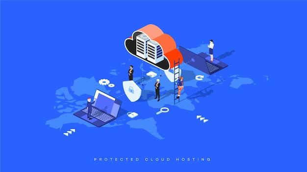 Infografika ilustracja bezpieczny hosting w chmurze. serwer izometryczny w chmurze wewnątrz osłon z zamkami.