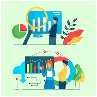 Infografika ilustracja działania ludzi młody biznesmen w pracy