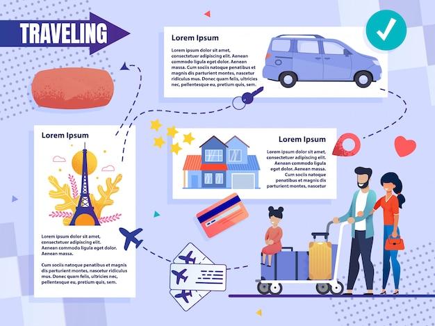 Infografika informacyjna podróżująca rodzina z dzieckiem.