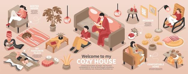 Infografika izometryczna z przytulnym wnętrzem domu i relaksującymi ludźmi ilustracja 3d