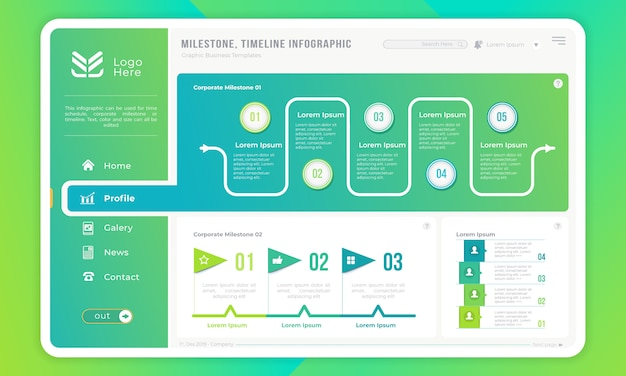 Infografika kamień milowy lub osi czasu na szablonie interfejsu użytkownika