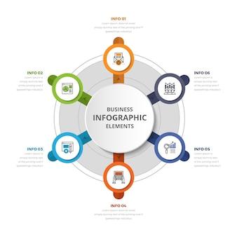 Infografika koło infografika 6 element z diagramem graficznym z środkowym okręgiem z ikonami