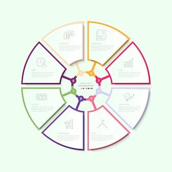 Infografika koło szablon z ikonami i 8 opcjami lub krokami.