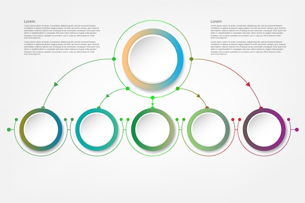 Infografika koło ze strzałkami i 5 opcji lub kroków