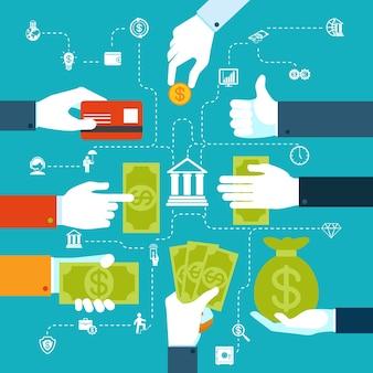 Infografika kolorowy schemat blokowy transferu pieniędzy i transakcji