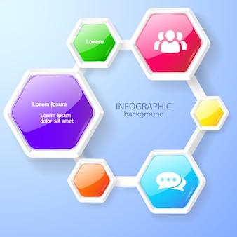 Infografika koncepcja projektowania sieci web z kolorowych błyszczących sześciokątnych kompozycji i ikon