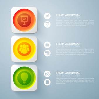 Infografika koncepcja projektowania sieci web z tekstem trzy kolorowe okrągłe przyciski w kwadratowych ramkach i ikony