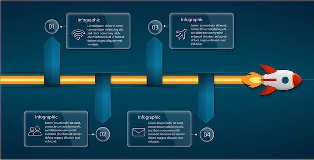 Infografika koncepcja uruchomienia rakiety dla biznesu, startupu, edukacji, technologii i prezentacji
