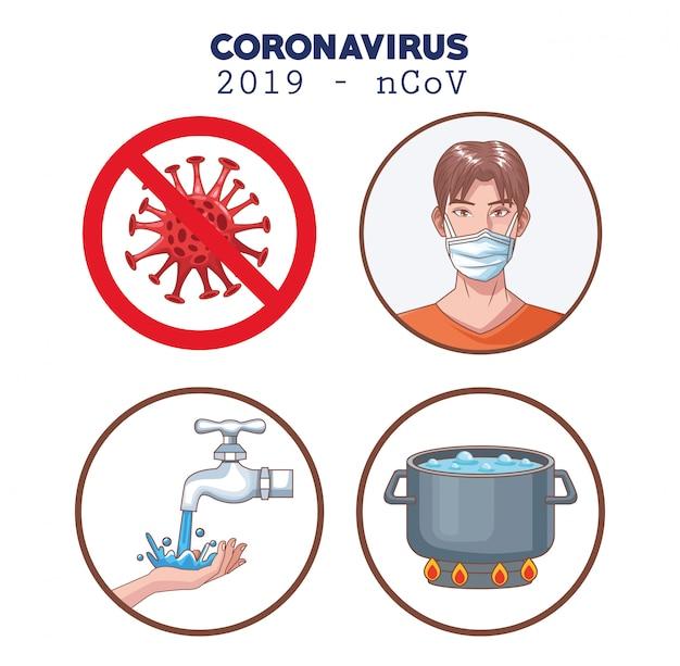 Infografika koronawirusa z zestawem zapobiegawczym