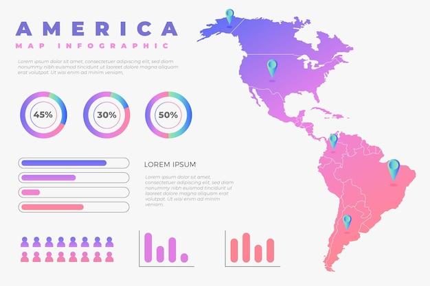 Infografika kreatywnych gradientowych map ameryki