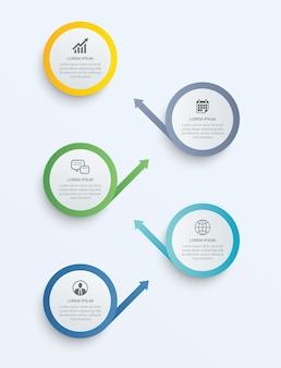 Infografika krok ircle z abstrakcyjnym szablonem osi czasu. prezentacja biznesowa nowoczesne tło krok.