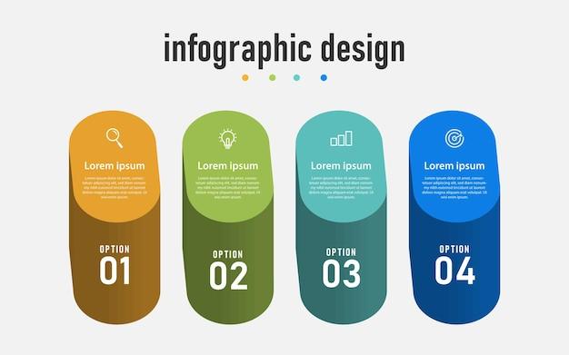 Infografika kroki 3d z 4 opcjami szablonów