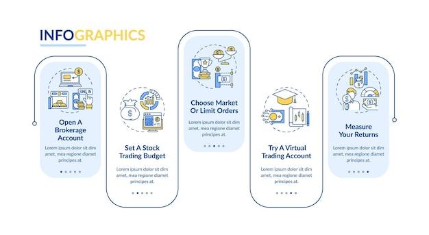 Infografika kroki handlu szablon. budżet, wirtualny handel, elementy projektu prezentacji zwrotów.