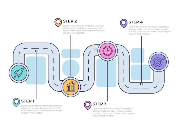 Infografika liniowa płaska mapa drogowa