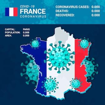 Infografika mapa kraju coronavirus dla francji