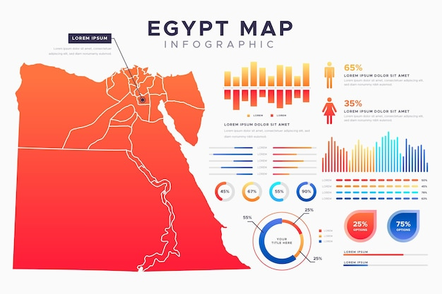 Infografika mapy egiptu gradientu