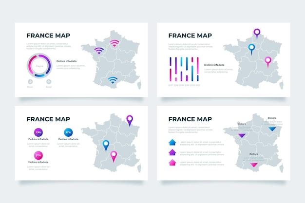Infografika mapy francji gradientu