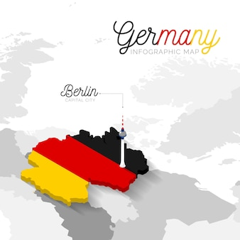 Infografika mapy izometrycznej niemcy