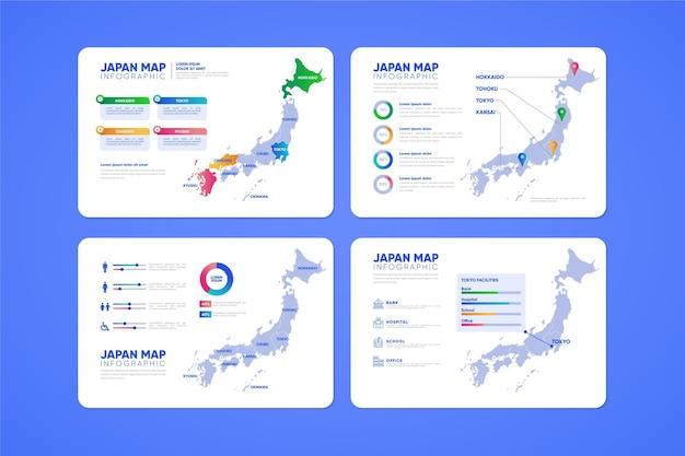 Infografika mapy japonii gradientu