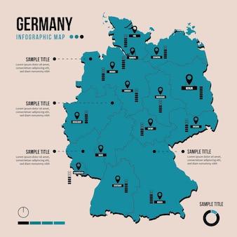 Infografika mapy niemiec w płaskiej konstrukcji