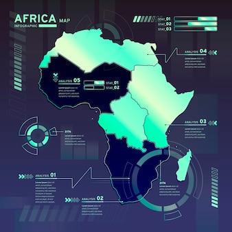 Infografika mapy płaski kształt afryki neonowej