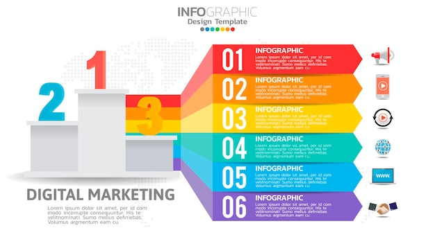 Infografika marketingu cyfrowego z 6-etapowym diagramem elementów, projekt wykresu biznesowego.