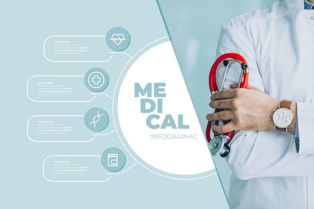 Infografika medyczna ze zdjęciem i szczegółami