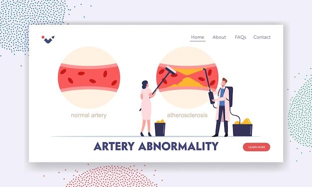 Infografika miażdżycy z normalnym i chorym szablonem strony docelowej naczynia krwionośnego. małe postacie medyków oczyszczające tętnice krwi z tworzenia się płytki cholesterolowej. ilustracja wektorowa kreskówka ludzie