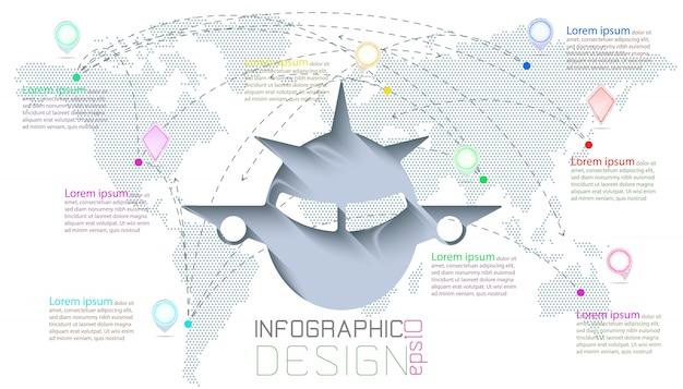 Infografika na mapie świata komunikacji.