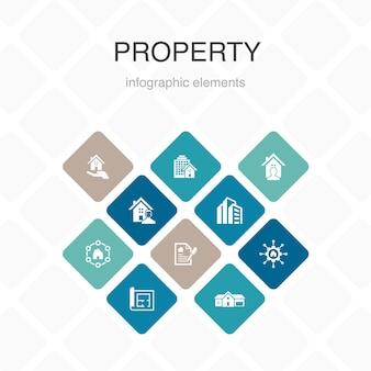 Infografika nieruchomości 10 opcji kolorów projektu. typ nieruchomości, udogodnienia, umowa najmu, plan piętra proste ikony